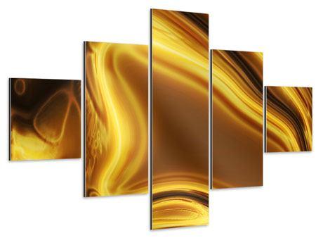 Aluminiumbild 5-teilig Abstrakt Flüssiges Gold