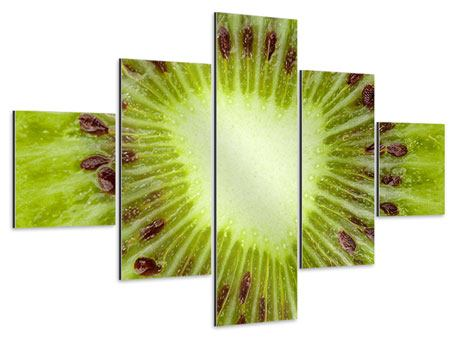 Aluminiumbild 5-teilig Close Up Kiwi