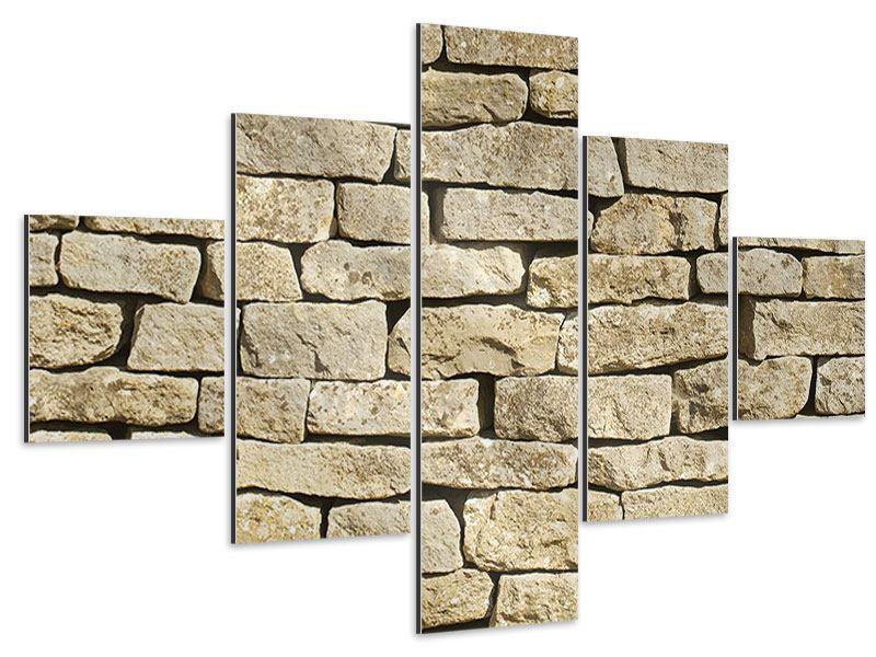 Aluminiumbild 5-teilig Alte Mauer