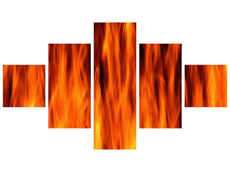 Aluminiumbild 5-teilig Feuer Close Up