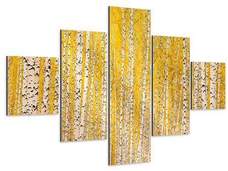 Aluminiumbild 5-teilig Der Birkenwald im Herbst