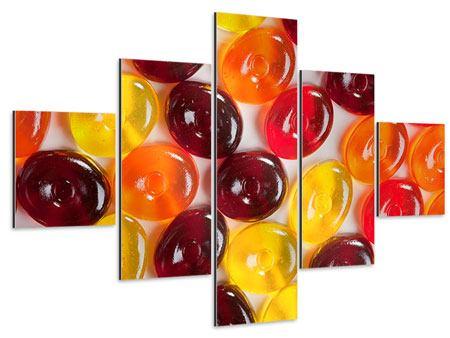 Aluminiumbild 5-teilig Bonbons