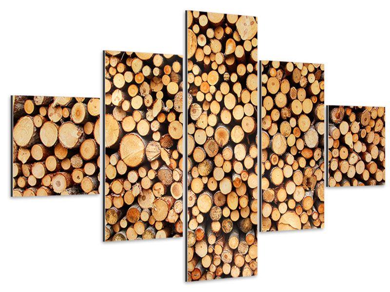 Aluminiumbild 5-teilig Holzstämme
