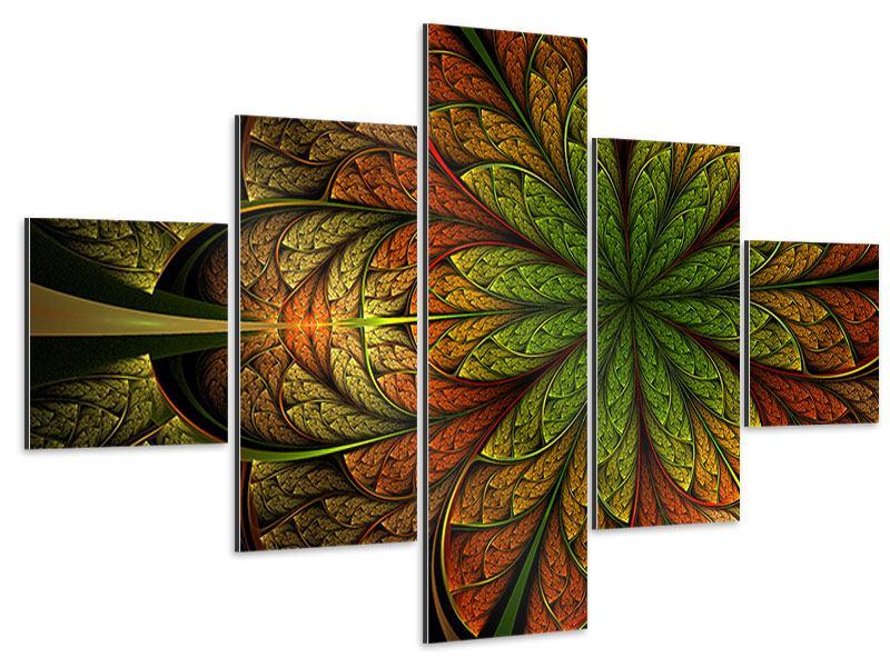 Aluminiumbild 5-teilig Abstraktes Blumenmuster