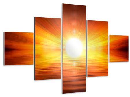Aluminiumbild 5-teilig Glühender Sonnenuntergang