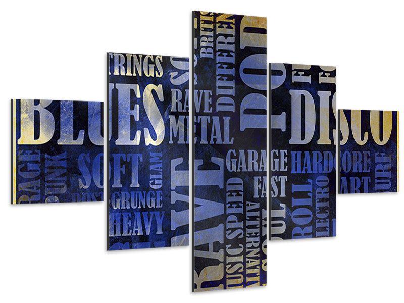 Aluminiumbild 5-teilig Writings im Grungestil