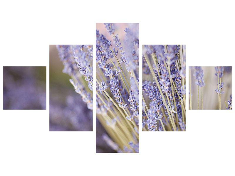 Aluminiumbild 5-teilig Lavendel XXL