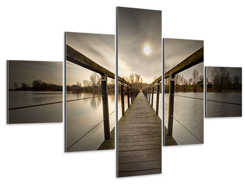 Aluminiumbild 5-teilig Die Holzbrücke