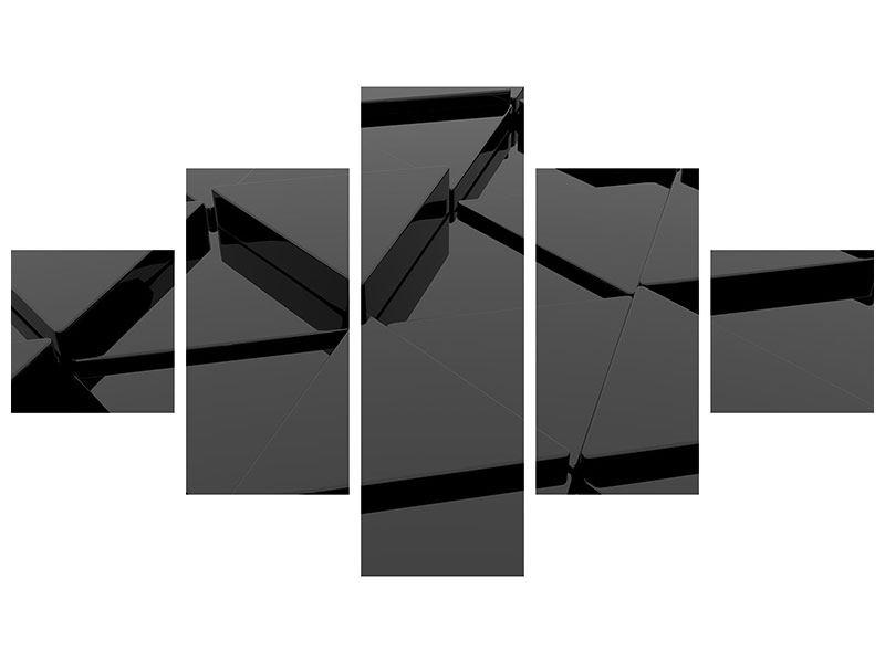 Aluminiumbild 5-teilig 3D-Dreiecksflächen