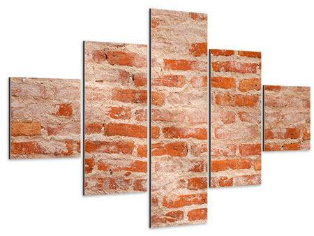Aluminiumbild 5-teilig Mauerwerk