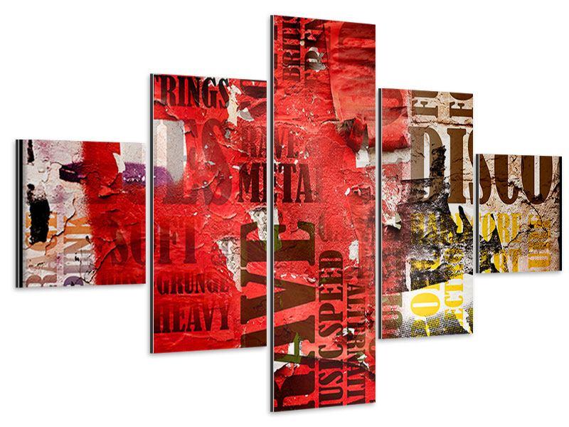Aluminiumbild 5-teilig Musiktext im Grungestil