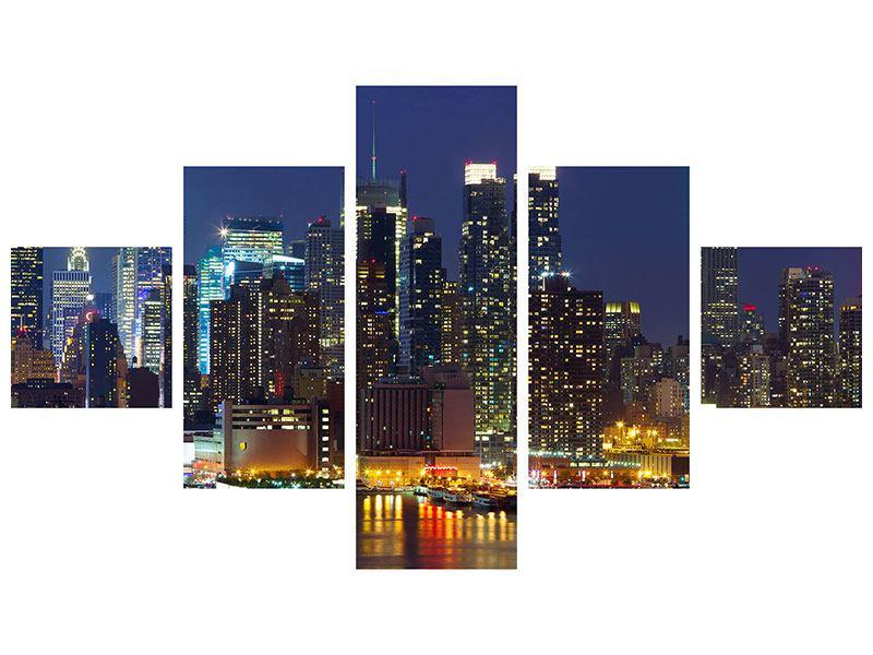 Aluminiumbild 5-teilig Skyline New York Midtown bei Nacht