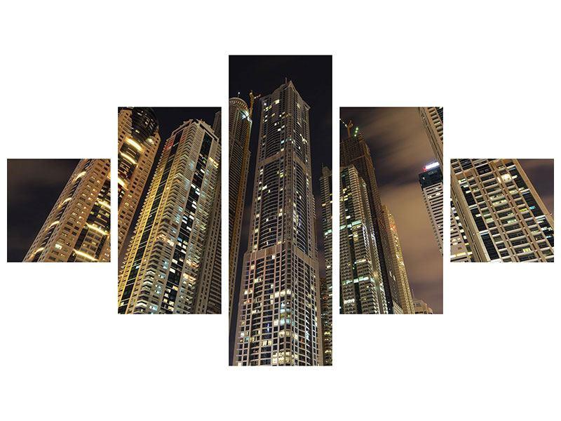 Aluminiumbild 5-teilig Wolkenkratzer Dubai Marina