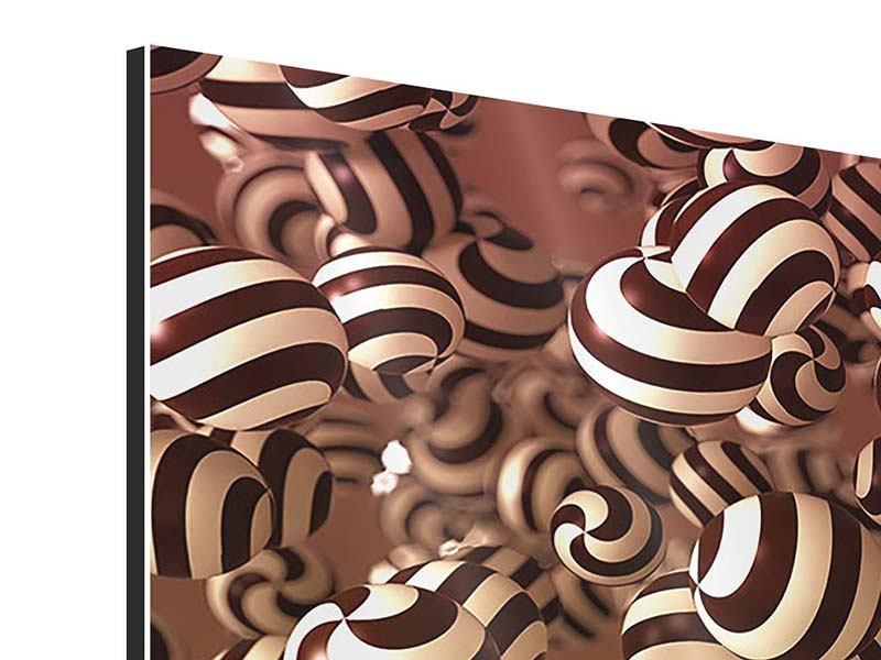 Aluminiumbild 5-teilig Schokoladen-Bonbons