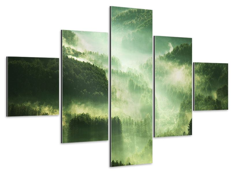 Aluminiumbild 5-teilig Über den Wäldern