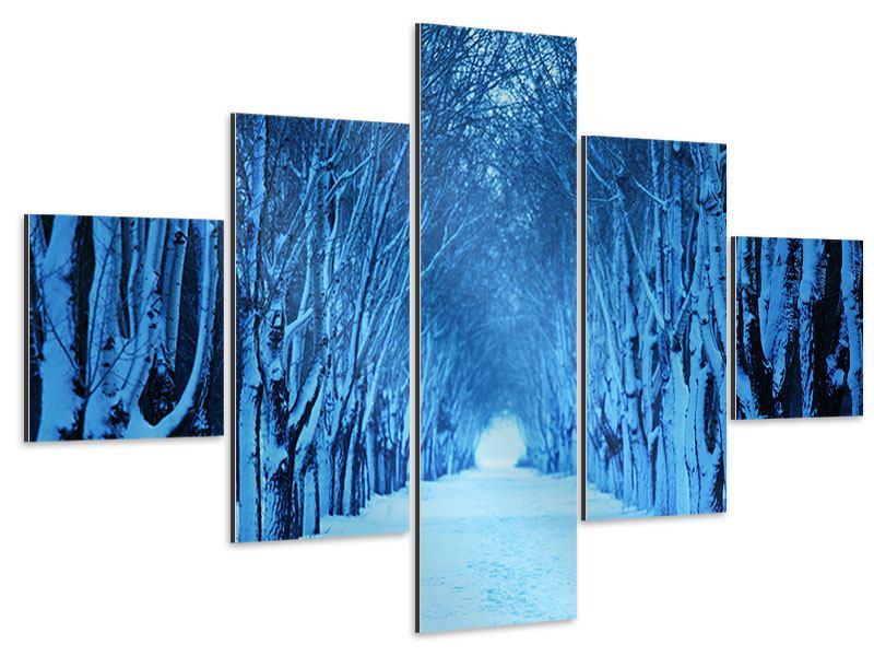 Aluminiumbild 5-teilig Winterbäume