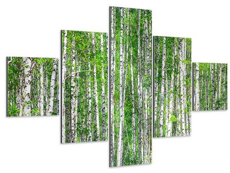 Aluminiumbild 5-teilig Der Birkenwald