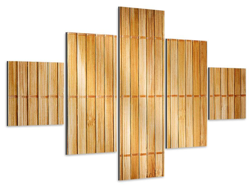 Aluminiumbild 5-teilig Bambusrohre