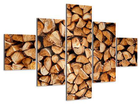 Aluminiumbild 5-teilig Gestapeltes Holz