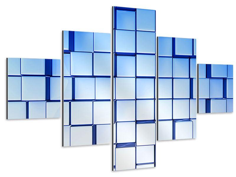 Aluminiumbild 5-teilig 3D-Symetrie