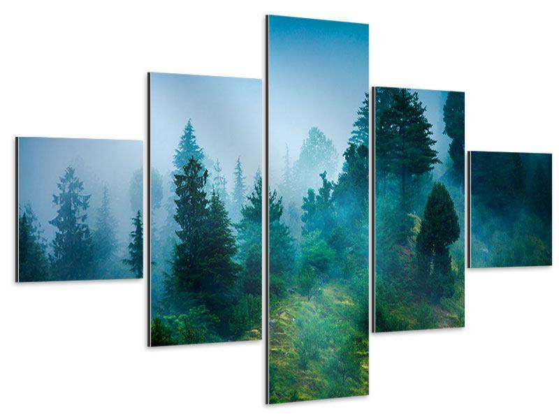 Aluminiumbild 5-teilig Geheimnisvoller Wald