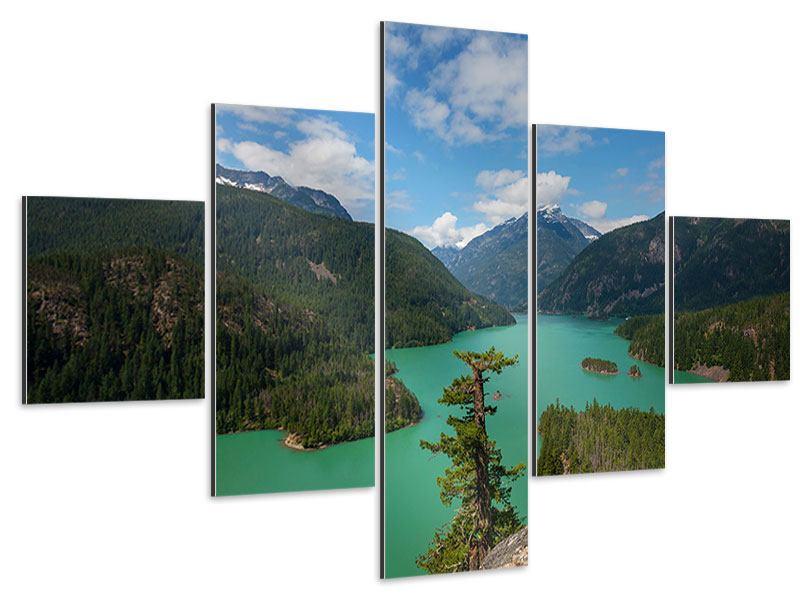 Aluminiumbild 5-teilig Diablo Bergsee