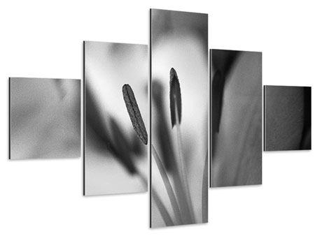 Aluminiumbild 5-teilig Makro Lilienblatt