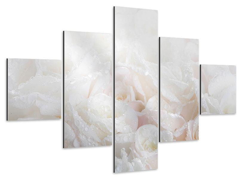 Aluminiumbild 5-teilig Weisse Rosen im Morgentau