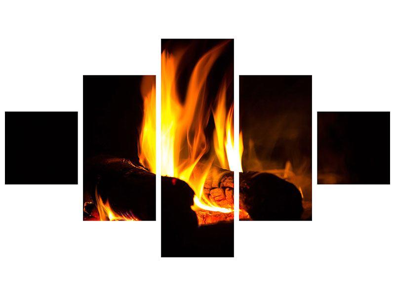 Aluminiumbild 5-teilig Der Kamin