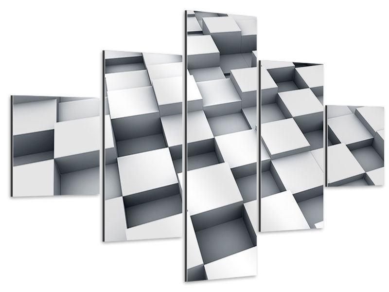 Aluminiumbild 5-teilig 3D-Kubus