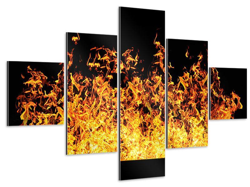 Aluminiumbild 5-teilig Moderne Feuerwand