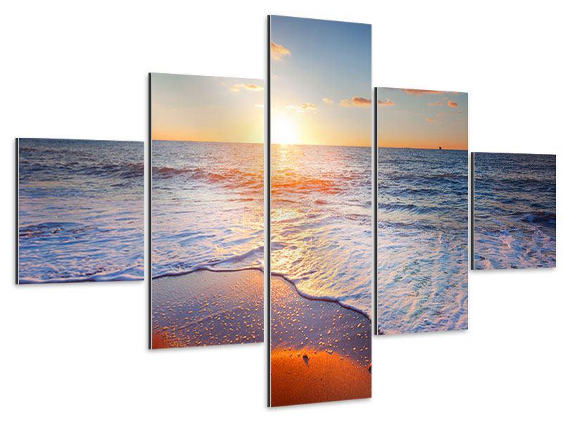 Aluminiumbild 5-teilig Sonnenuntergang am Horizont