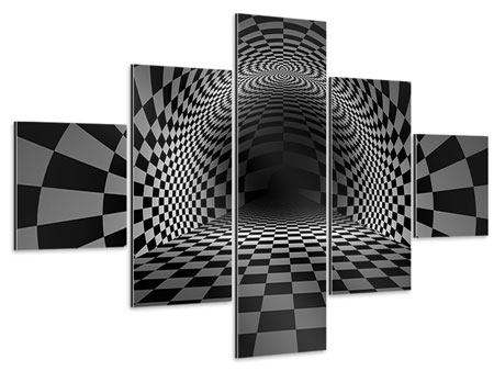 Aluminiumbild 5-teilig Abstraktes Schachbrett