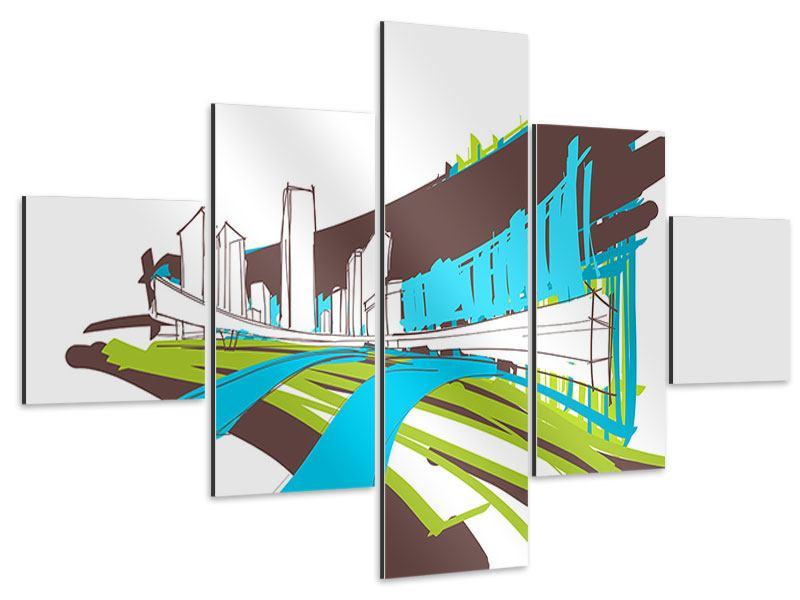 Aluminiumbild 5-teilig Graffiti Street-Art