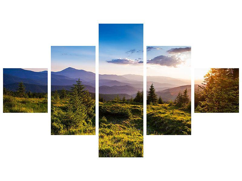 Aluminiumbild 5-teilig Friedliche Landschaft