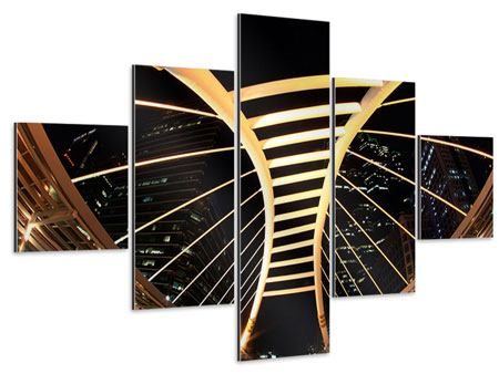 Aluminiumbild 5-teilig Avantgardistische Brücke