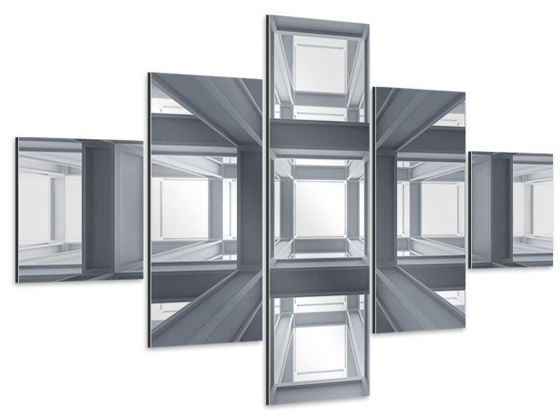 Aluminiumbild 5-teilig Räume