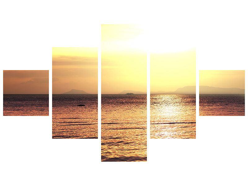 Aluminiumbild 5-teilig Sonnenuntergang an der See