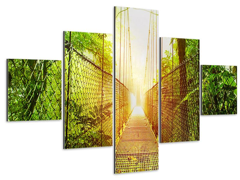 Aluminiumbild 5-teilig Hängebrücke
