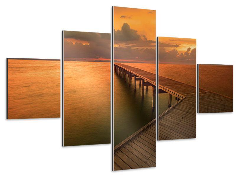 Aluminiumbild 5-teilig Der Steg am Meer