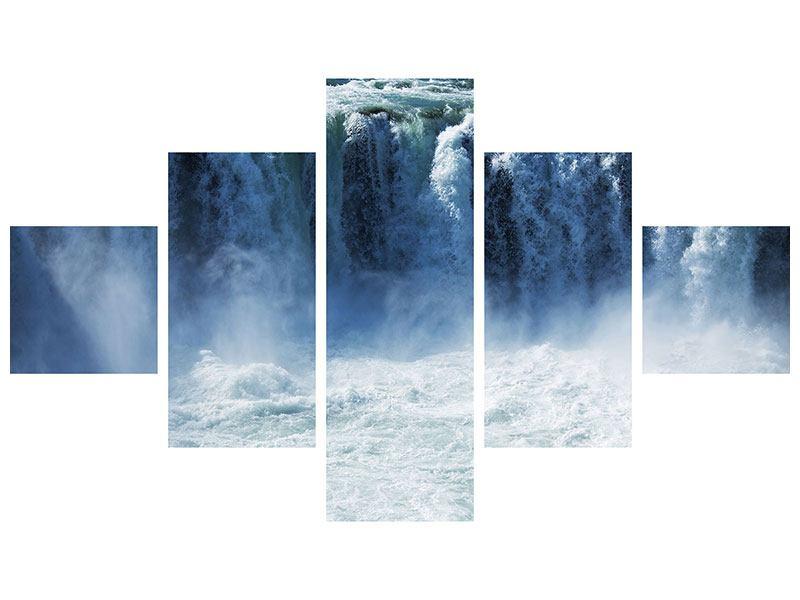 Aluminiumbild 5-teilig Mächtiger Wasserfall