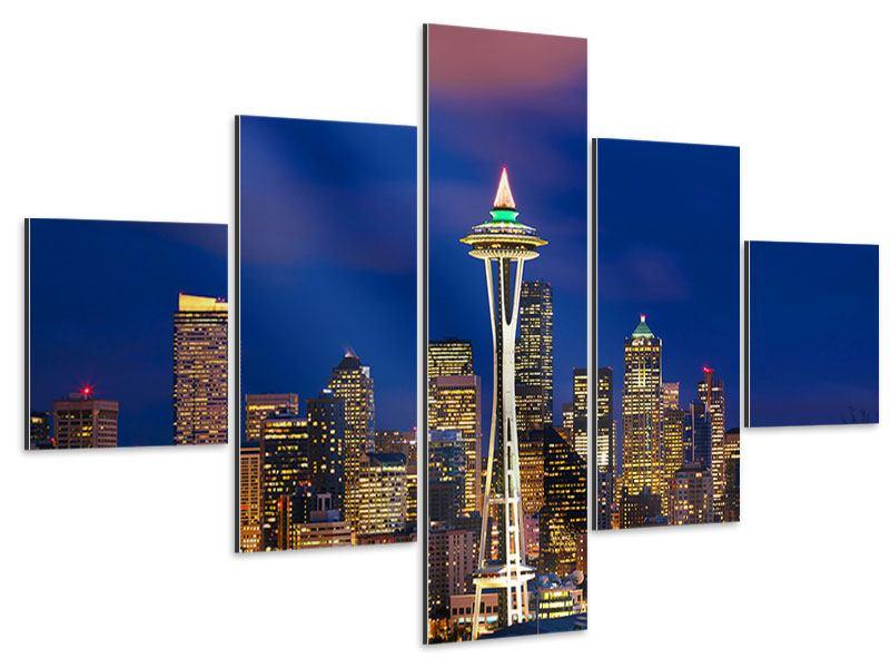 Aluminiumbild 5-teilig Skyline Seattle