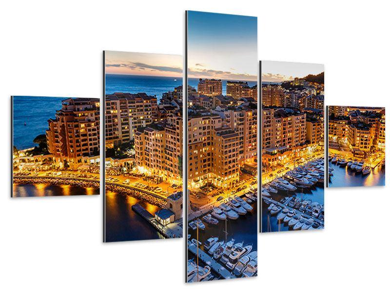 Aluminiumbild 5-teilig Monaco