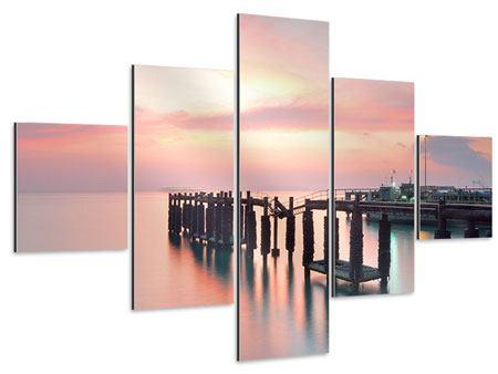 Aluminiumbild 5-teilig Der beruhigende Sonnenuntergang