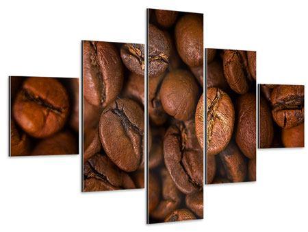 Aluminiumbild 5-teilig Close Up Kaffeebohnen