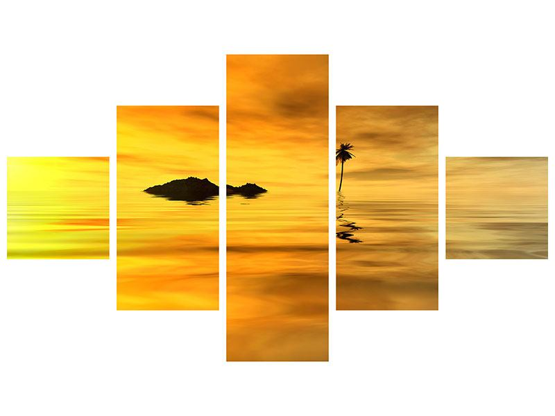 Aluminiumbild 5-teilig Ab auf die Insel