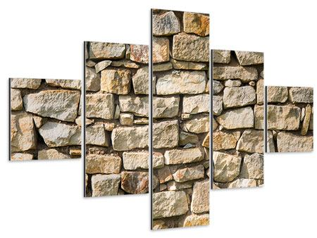 Aluminiumbild 5-teilig Natursteine