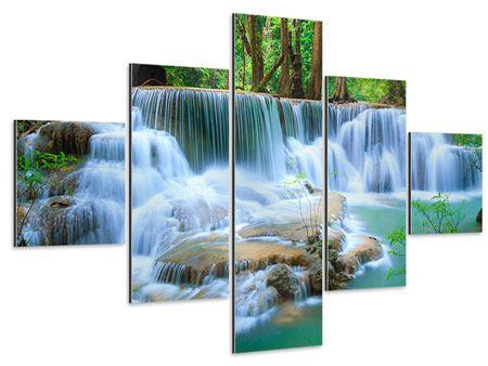 Aluminiumbild 5-teilig Kaskaden Huay Mae Khamin