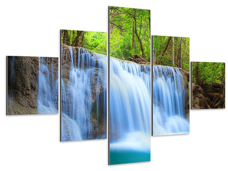 Aluminiumbild 5-teilig Wasserfall Si Nakharin