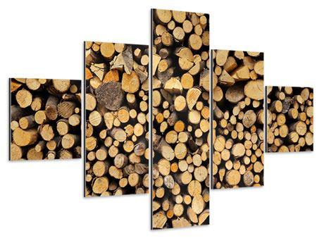 Aluminiumbild 5-teilig Brennholz